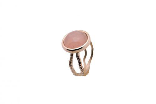 anillo plata quarzo rosa